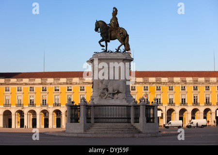 Equestrian statue of King Jose I from 1775 at sunrise on the Commerce Square in Lisbon, Portugal. - Stock Photo