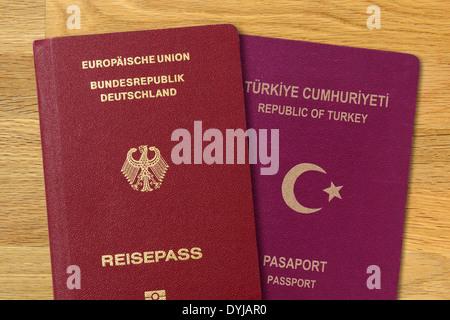 German and Turkish passport, dual citizenship, Deutscher und türkischer Pass, doppelte Staatsbürgerschaft - Stock Photo