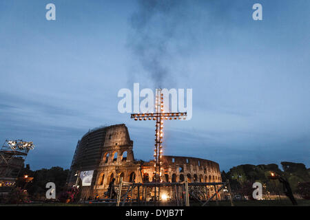 "April 18, 2014 - Rome, Italy ''"" April 18, 2014: A cross is lighten before the start of the Via Crucis (Way of the - Stock Photo"