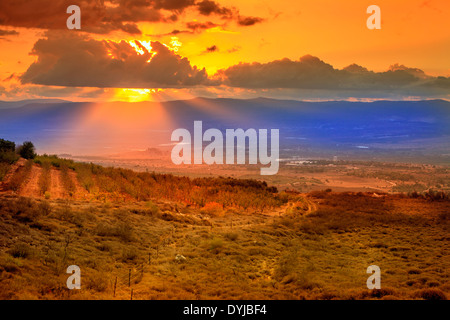 Sunset in northern Golan Heights in Israel - Stock Photo