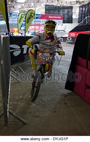 Manchester, UK. 19th April 2014.  Stefany Hernandez of Venezeula at the BMX Supercross World Cup on Saturday night. - Stock Photo