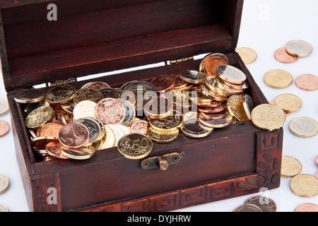 Treasure chest with Euro coins. Isolated on a white background., Schatztruhe mit Euro Muenzen. Isoliert auf weiflem - Stock Photo