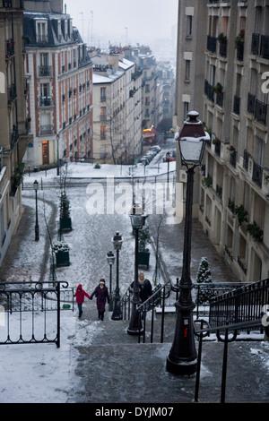Montmartre, Paris in heavy snow. Rare winter conditions. Montmartre, Paris, France - Stock Photo