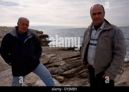 Jean-Claude Bianco fisherman and diver Luc Vanrell who found Antoine Saint Exupery's airplane. Near Marseille, France - Stock Photo