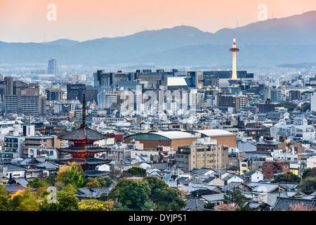 Kyoto, Japan skyline at dusk. - Stock Photo