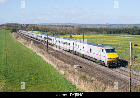 East Coast electric high speed train seen at Plawsworth, north east England UK - Stock Photo