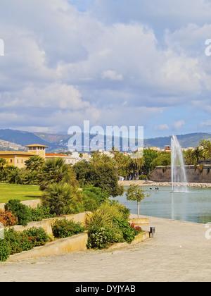 Fountain in Parc de la Mar in Palma de Mallorca, Balearic Islands, Spain - Stock Photo