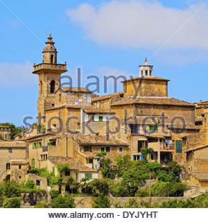 View of Valldemossa on Mallorca, Balearic Islands, Spain - Stock Photo