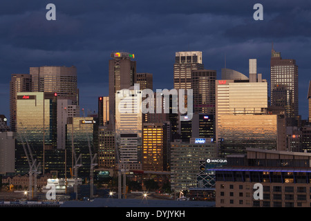 Sydney Sunset looking to Barangaroo from Pyrmont, Sydney, New South Wales Australia - Stock Photo