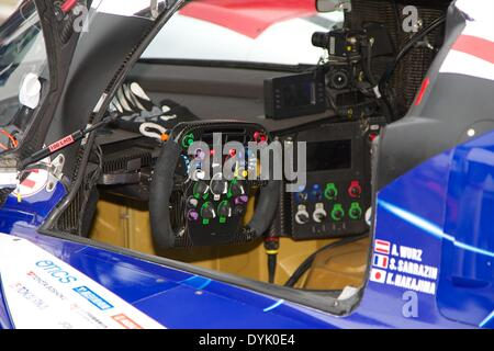 Silverstone, UK. 20th Apr, 2014. The Toyota cockpit before round 1 of the World Endurance Championship from Silverstone. - Stock Photo