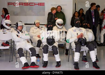 Silverstone, UK. 20th Apr, 2014. Porsche mechanics rest during round 1 of the World Endurance Championship from - Stock Photo