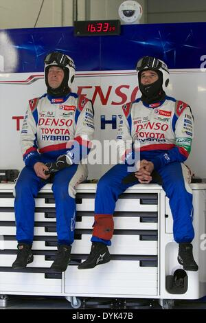 Silverstone, UK. 20th Apr, 2014. Toyota mechanics rest during round 1 of the World Endurance Championship from Silverstone. - Stock Photo