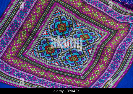 Intricate Embroidery Of Flower Hmong Sapa Vietnam Stock Photo