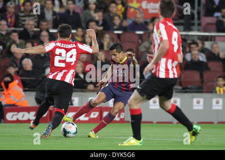 Barcelona, Spain. 20th Apr, 2014. Alexis in action during the spanish league match between FC. Barcelona and Ath. - Stock Photo