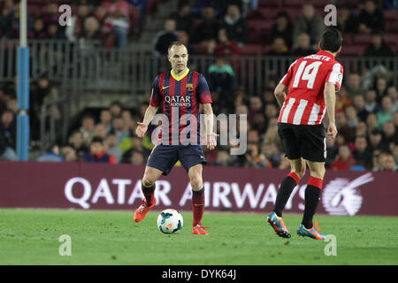 Barcelona, Spain. 20th Apr, 2014. Iniesta during the spanish league match between FC. Barcelona and Athletic de - Stock Photo