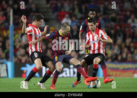Barcelona, Spain. 20th Apr, 2014. Iniesta surrounded by defenders during the spanish league match between FC. Barcelona - Stock Photo