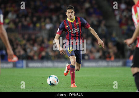 Barcelona, Spain. 20th Apr, 2014. Bartra in action during the spanish league match between FC. Barcelona and Athletic - Stock Photo