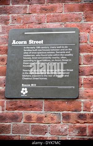 Historic Acorn Street on Beacon Hill in downtown Boston Massachusetts MA - Stock Photo
