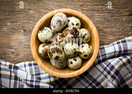 the top view of quail eggs in bowl - Stock Photo