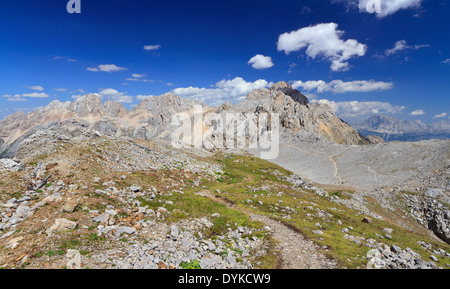 landscape of Costabella ridge with Cima dell'Uomo peak, Trentino, Italy - Stock Photo