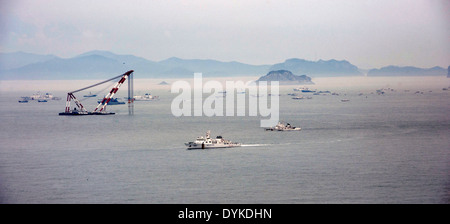 Aerial view of the rescue efforts for the sunken South Korean ferry Sewol April 18, 2014 near Jeju, South Korea. - Stock Photo