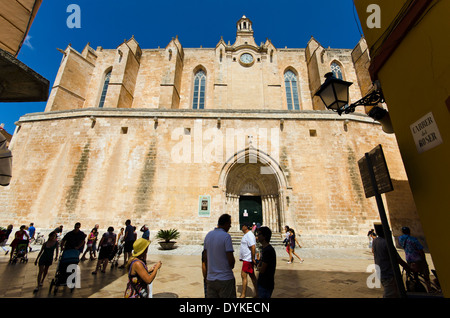 The Cathedral Basilica of Minorca. In the town of Ciutadella. Shot with a wide angled lens. - Stock Photo