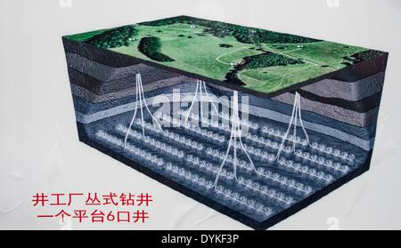 Chongqing. 21st Apr, 2014. Photo taken on April 21, 2014 shows an illustration of the late-model shale gas drilling - Stock Photo
