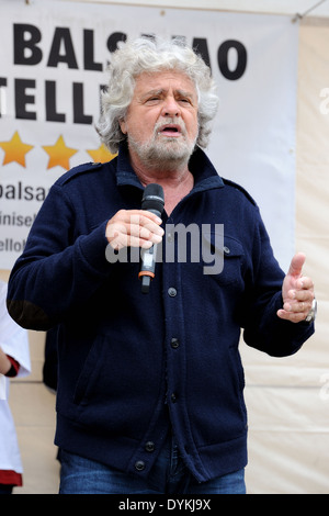 Beppe Grillo during a political meeting in a square (five stars movement). - Stock Photo