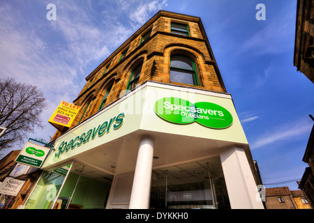 Specsavers shop sign optician high street shops Skipton Town Yorkshire Dales National Park, UK England - Stock Photo