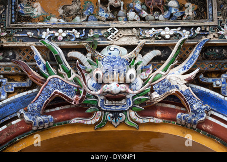 Dragon Head Detail on Gate Entrance to Citadel at Hue Vietnam - Stock Photo