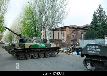 Sloviansk, Ukraine. 21st Apr, 2014. In photo: tanks on the barricade to protect the occupied ukrainian spy office. - Stock Photo