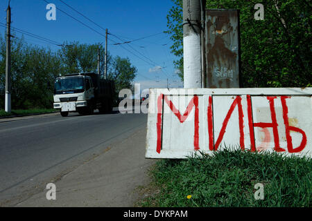 Sloviansk, Ukraine. 21st Apr, 2014. In photo: a sign indicates the presence of mines. Sloviansk. PH Cosimo Attanasio - Stock Photo