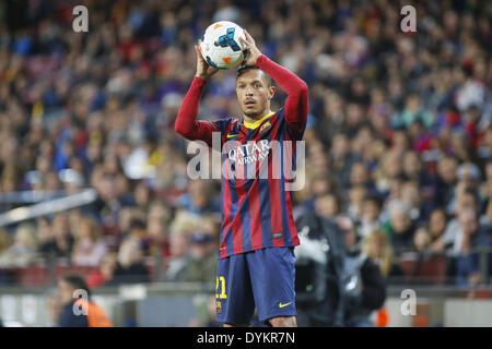 Barcelona, Spain. 20th Apr, 2014. BARCELONA-SPAIN -APRI 20: Adriano during the match between FC Barcelona and Athletic - Stock Photo