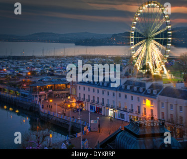 GB - DEVON: Torquay Marina and English Riviera Wheel by night - Stock Photo