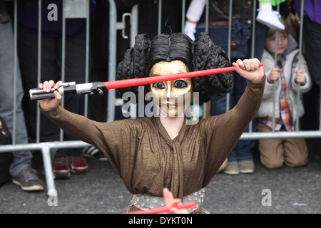 A woman dressed up as a character from the Star Wars film series at the Saint Patrick's Day parade in Dublin city - Stock Photo
