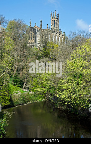 View from the Dean Village in Edinburgh towards Holy Trinity Church built in 1839. - Stock Photo