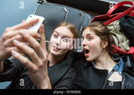 Selfie, models, backstage, phone - Stock Photo
