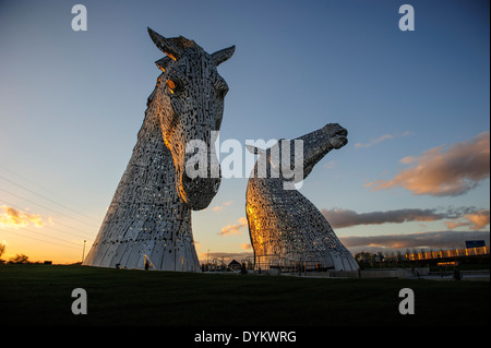 The Kelpies, a 300 tonne, 30 meter high horse head sculpture by artist Andy Scott. The Helix Park, Falkirk, Scotland, - Stock Photo