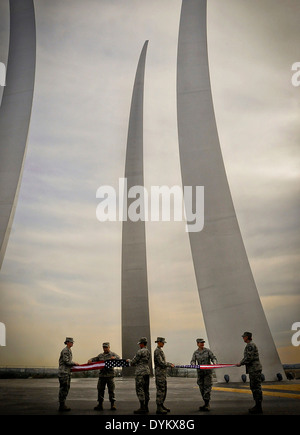 US Air Force Airman fold 430 flags in four hours for use in ceremonies and gifts at the Air Force Memorial April - Stock Photo