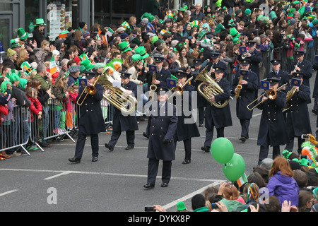The Garda band during the Saint Patrick's Day parade in Dublin city centre - Stock Photo