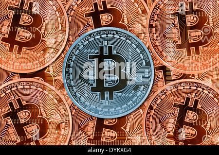 Bitcoin-Münzen, digitale Internet-Währung - Stock Photo