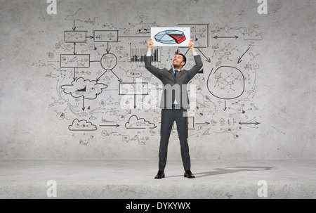 smiling businessman with white board with diagram - Stock Photo
