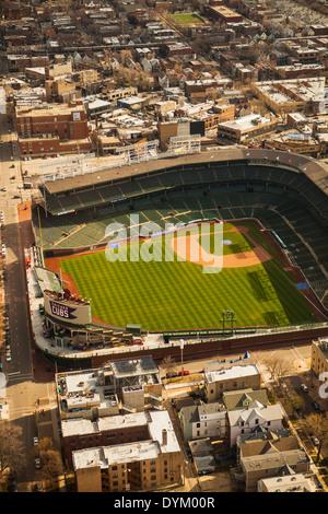 aerial view of Wrigley Field Ballpark, Chicago, Illinois - Stock Photo