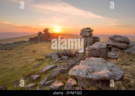 Sunset on Staple Tor Dartmoor national park Devon Uk - Stock Photo