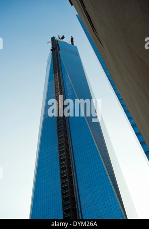 The New World Trade Center 'One World Trade' WTC under construction in Lower Manhattan downtown New York City. - Stock Photo