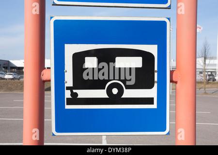 trailer park parking lot sign, Finland - Stock Photo