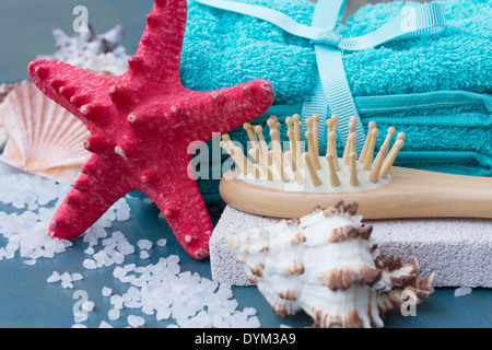 Sea spa setting with starfish close up - Stock Photo