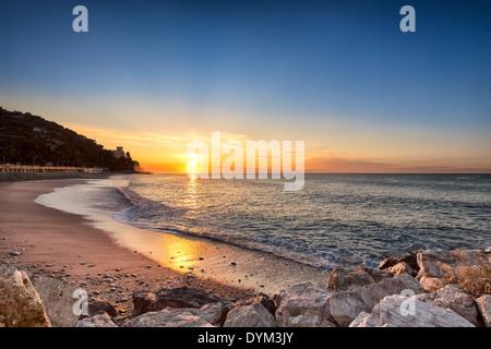 Sunrise at Finale Ligure, Italy, EU - Stock Photo