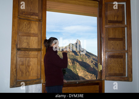 Fantastic view of Roque Nublo from hotel window in Tejeda village on Gran Canaria, Canary Islands, Spain - Stock Photo