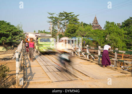 Traffic on a bridge, Mrauk U, Sittwe District, Rakhine State, Myanmar - Stock Photo